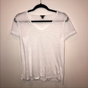 Ann Taylor Perforated Sleeve Scoop Neck T-Shirt